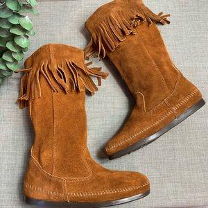 Minnetonka fringe mid calf boot 7